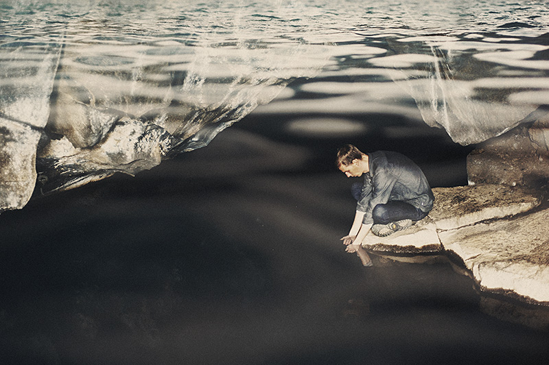 Double exposures in Photoshop - Chris in a geothermal cave overlayed on Myvatn Nature Bath