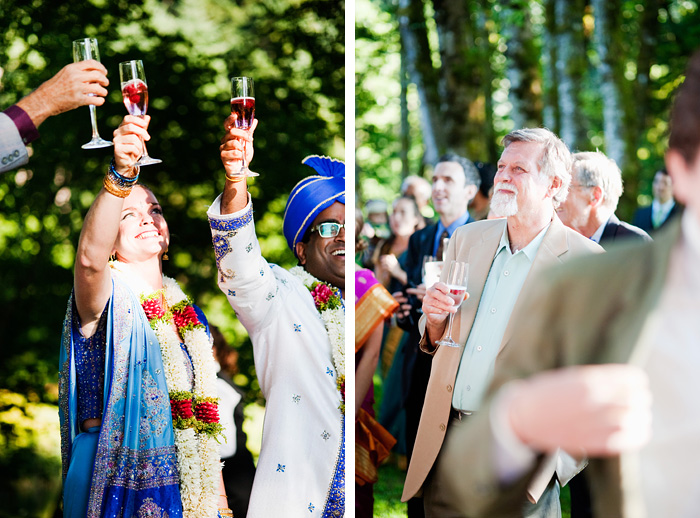 Bride and Groom toast to guests - Bridal Veil Lakes Wedding - Portland Oregon