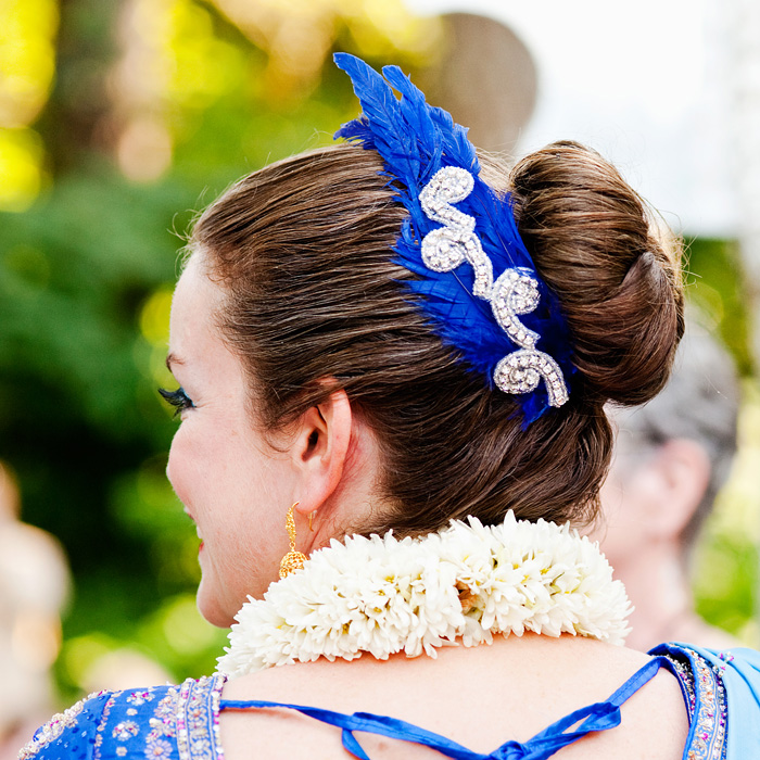 Bridal Veil Lakes Wedding Photographer - Bride Heidi Cody - blue feather hairpiece - Portland Oregon