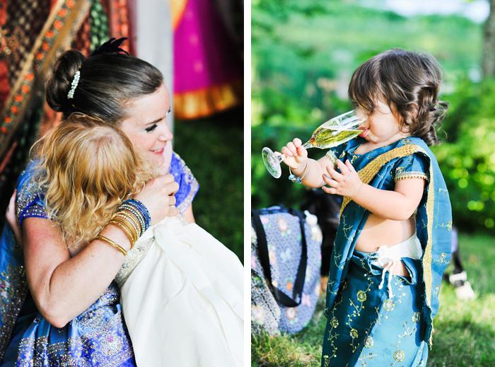 Bride hugs children - Bridal Veil Lakes wedding - Portland Oregon