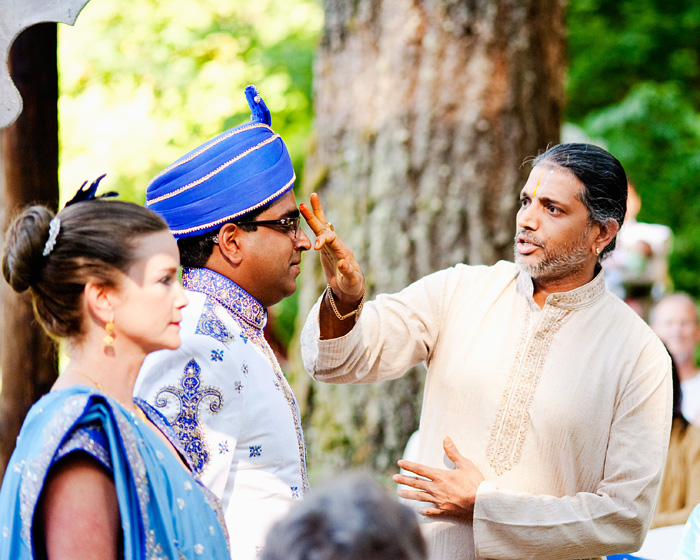 Bridal Veil Lakes Wedding Photographer - Hindu wedding - Swami marks Groom - Portland Oregon