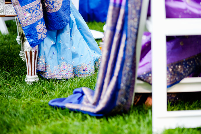 Bride and Mother of Bride wearing blue and purple sari - Hindu Wedding - Bridal Veil Lakes - Portland Oregon