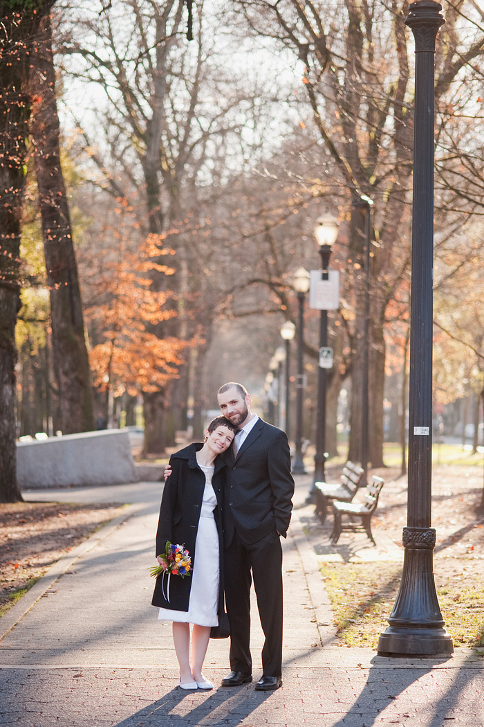 Downtown Portland Wedding: Bride and Groom