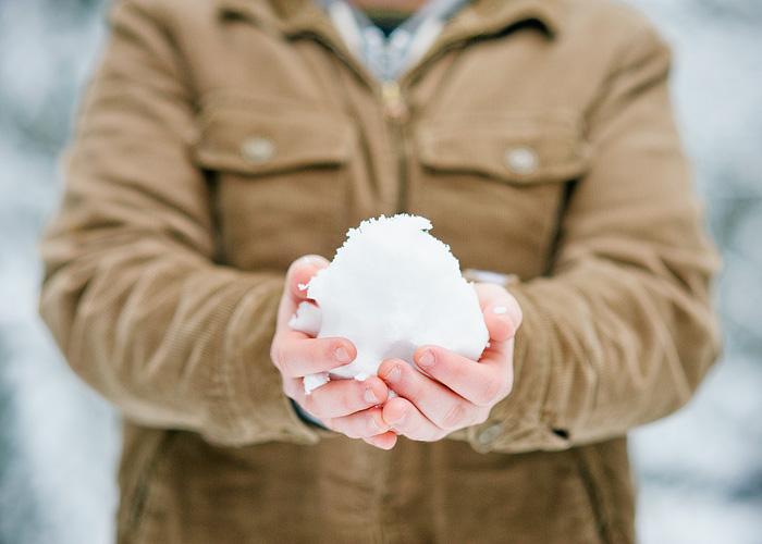 Man Holding Snowball - Mt Hood, Oregon