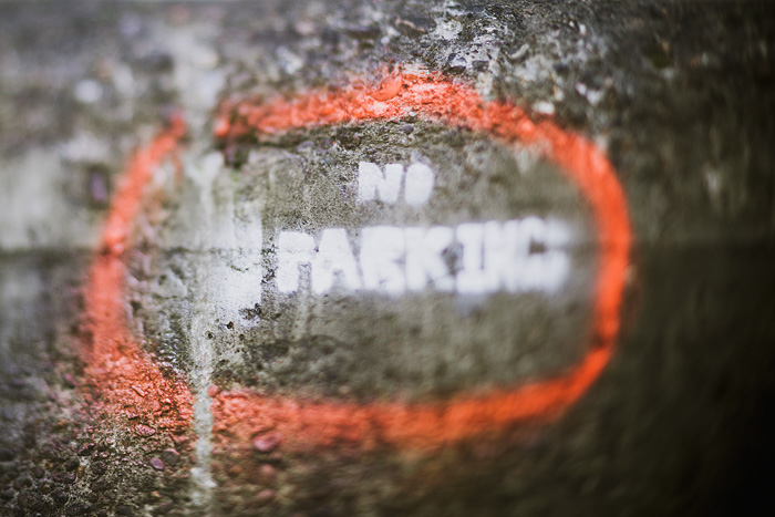 No Parking Graffiti - Industrial Southeast Portland