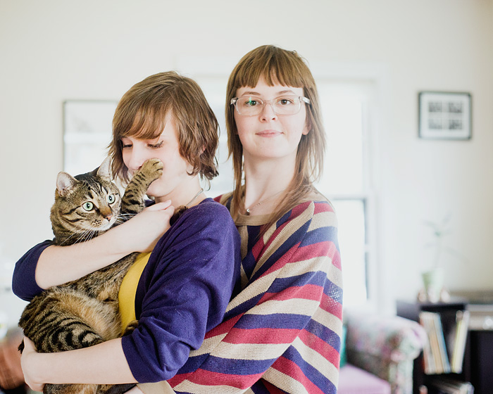Two Girls, One Cat - Portland Portrait Photographer