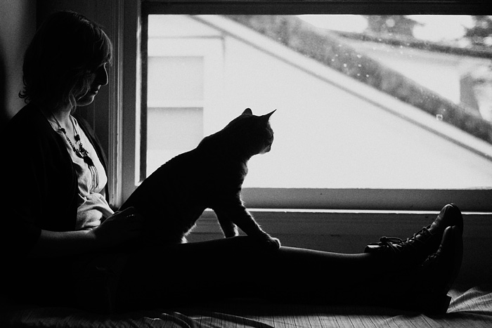 Silhouette of Cat and Owner by Window - Portland, OR