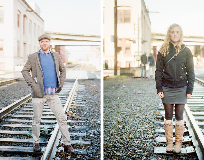 Kyle & Molly - Train Tracks - Portland Portrait Photographer