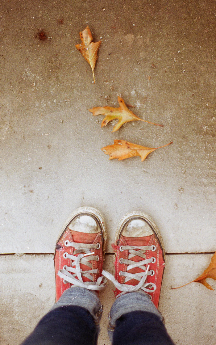 From Where I Stand - Red Converse and Leaves - Walking through Irvington - Portland Lifestyle Photographer