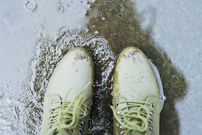 From Where I Stand - Loeffler Randall Rain Boots - Playing in the puddles in the tennis courts of Irving Park