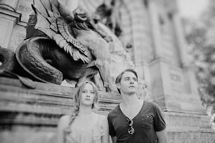 Portland Portrait Photographer - Couple by Paris Statue