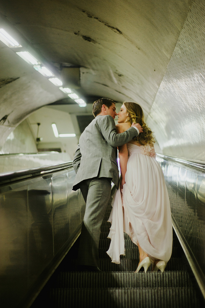 Paris Elopement Photographer - Kissing in the Metro