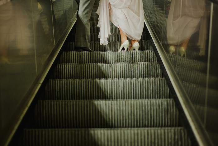 Destination Paris Elopement - Couple on Escalator in Metro