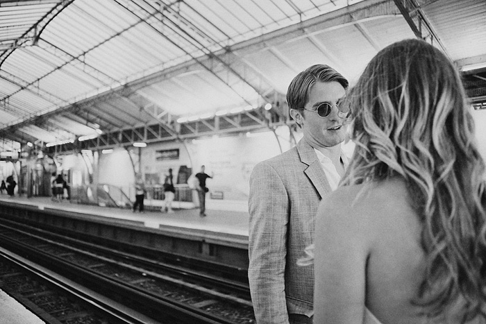 Destination Paris elopement - Groom in the Metro