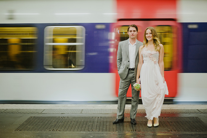 Destination paris elopement - Bride and Groom in the Metro