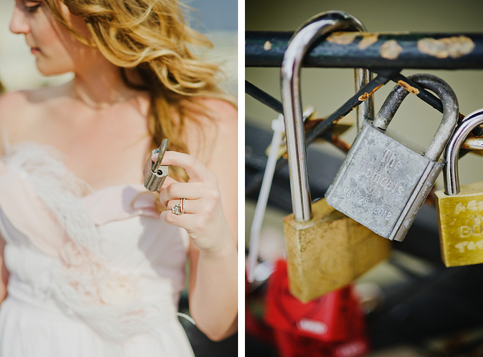 Paris wedding photographer - Bride holding love lock