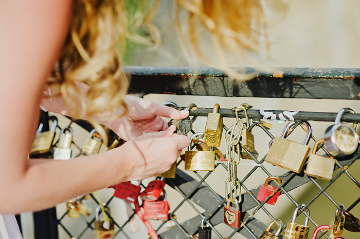 Paris destination wedding photographer - Bride on Love Lock Bridge