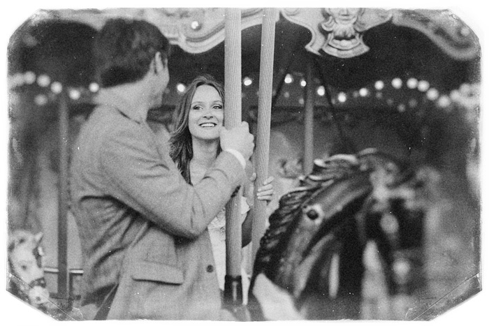 Newlyweds on Carousel - vintage wedding photographer