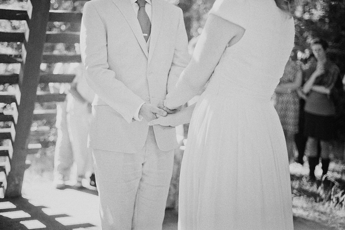 Bride and Groom holding hands - Camp Royaneh ceremony - Bay Area Wedding Photographer