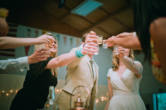 Bride and Groom take vodka shots at Camp Royaneh - Bay Area Wedding Photographer
