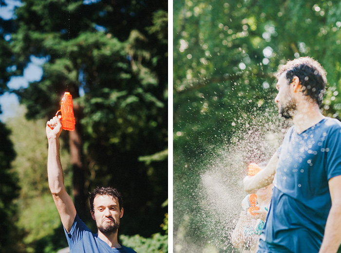 Portland Portrait Photographer - Diptych of a Water Gun Fight in Laurelhurst Park
