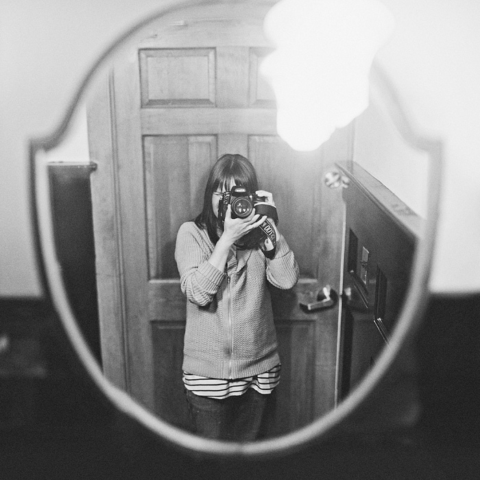 San Francisco Photographer - Self-Portrait in Bathroom Mirror at Tartine - Bokeh Panorama