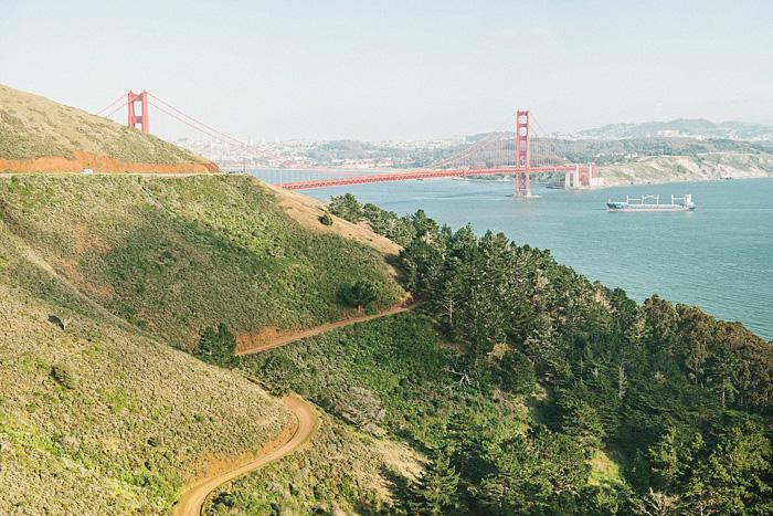 San Francisco Lifestyle Photographer - Vista Point overlooking Golden Gate Bridge - Bokeh Panorama