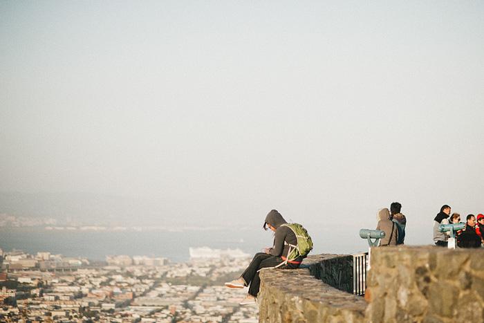 San Francisco Lifestyle Photographer - Girl sitting on ledge of Vista Point