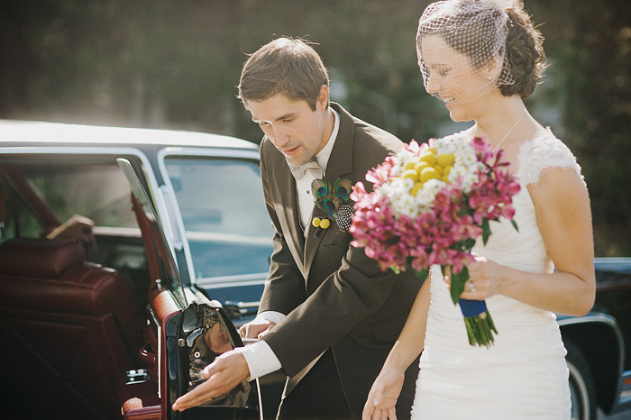 Redding Wedding Photographer - Groom Letting Bride in Car