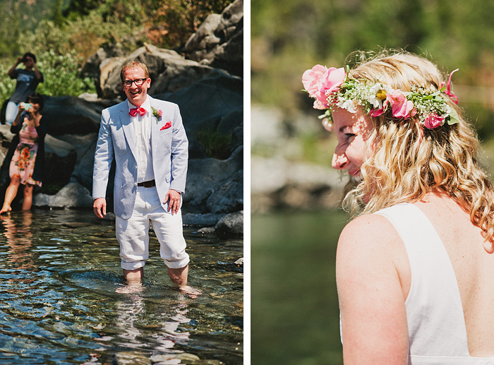 Bride and Groom's first look at each other - Smith River wedding - Gasquet, CA