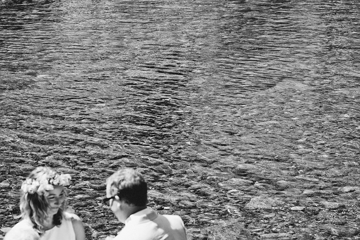 black-and-white photo of the water, Bride and Groom - Smith River wedding - Gasquet, CA