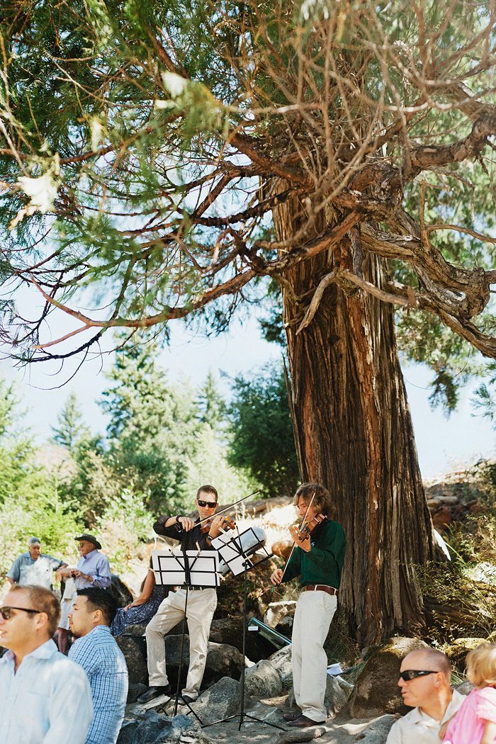 Classical violin duo performing at Smith River Wedding - Gasquet, CA