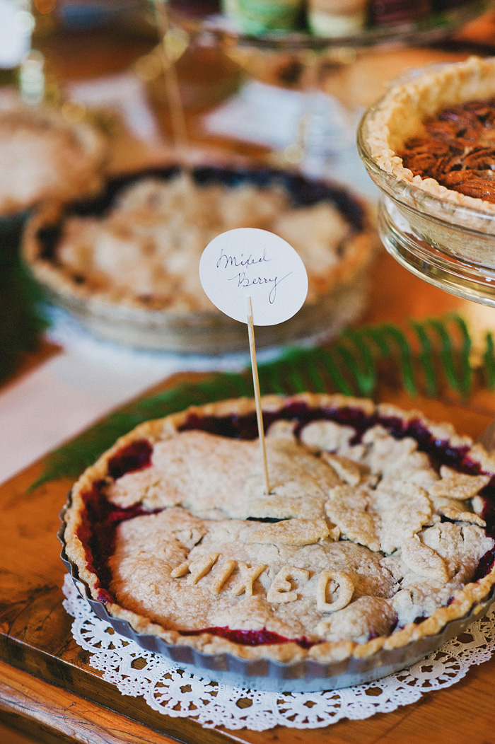 Mixed berry homemade wedding pie - Intimate Backyard Wedding - Gasquet, CA