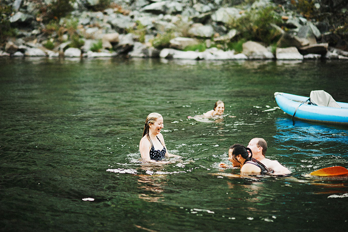 Crescent City Wedding Photographer - Bride and Groom swimming in the Smith River in Gasquet, CA