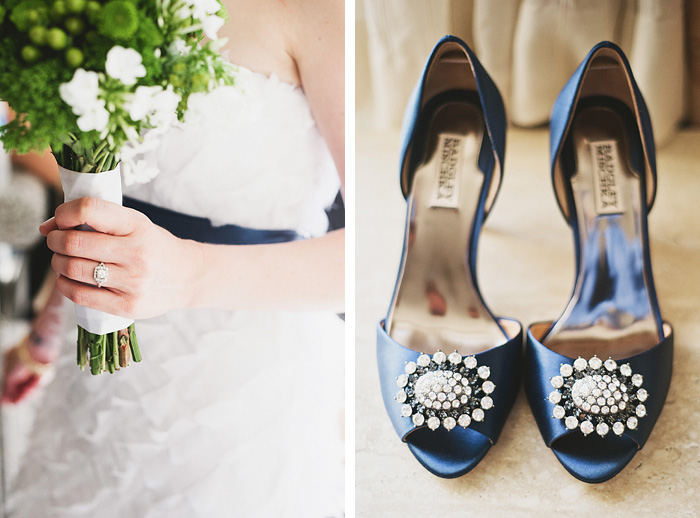 Portland Oregon Wedding Photographer - Bride's bouquet, ring and Badgley Mischka shoes