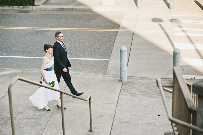 Portland Oregon Wedding Photographer - Bride and Groom walking to the reception - World Forestry Center