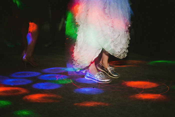 Portland Oregon Wedding Photographer - Bride on the dancefloor in silver Sperry Top-Siders - World Forestry Center