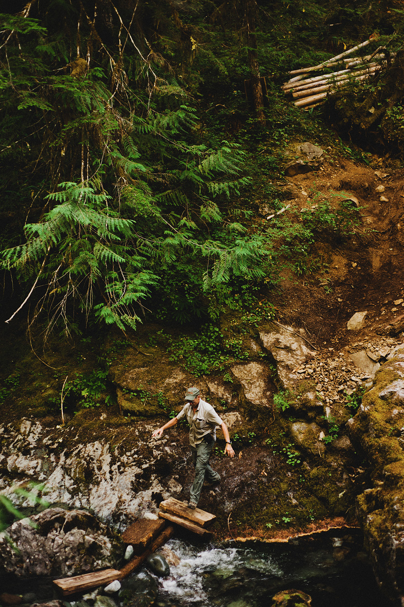 Salem Wedding Photographer - Father of Groom crossing a bridge in Opal Creek Ancient Forest