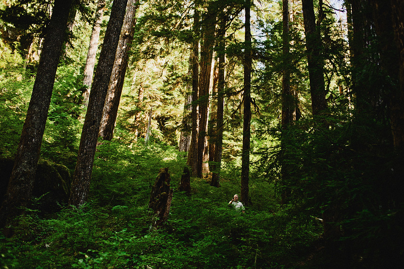 Salem Wedding Photographer - Father of bride recording the ceremony in Opal Creek Ancient Forest