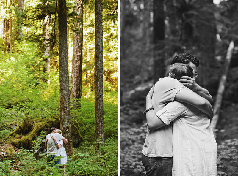 Salem Wedding Photographer - Bride and Groom hug after exchanging vows in Opal Creek Ancient Forest