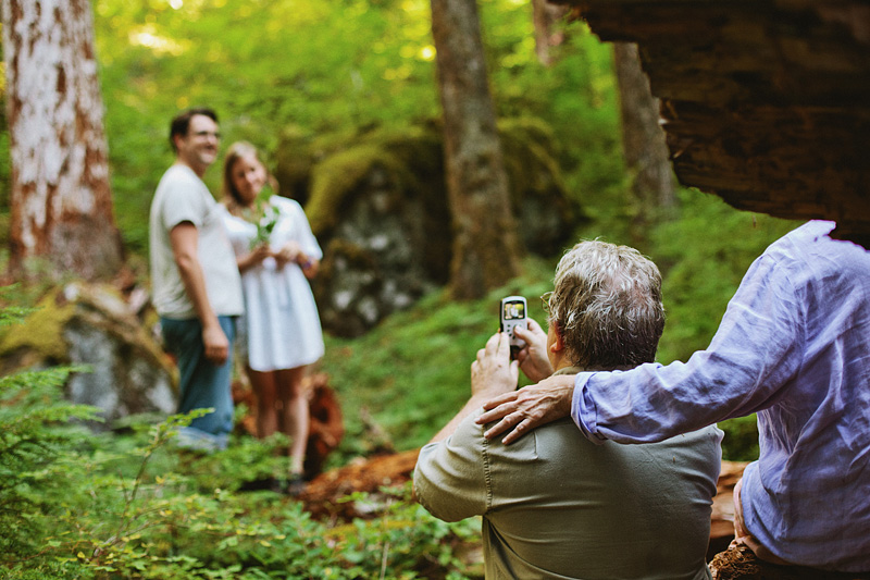 Salem Wedding Photographer - Father of Bride records ceremony in Opal Creek Ancient Forest