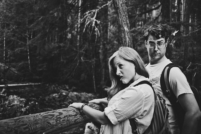 Salem Wedding Photographer - Bride and Groom making funny faces after hiking through Opal Creek Wilderness