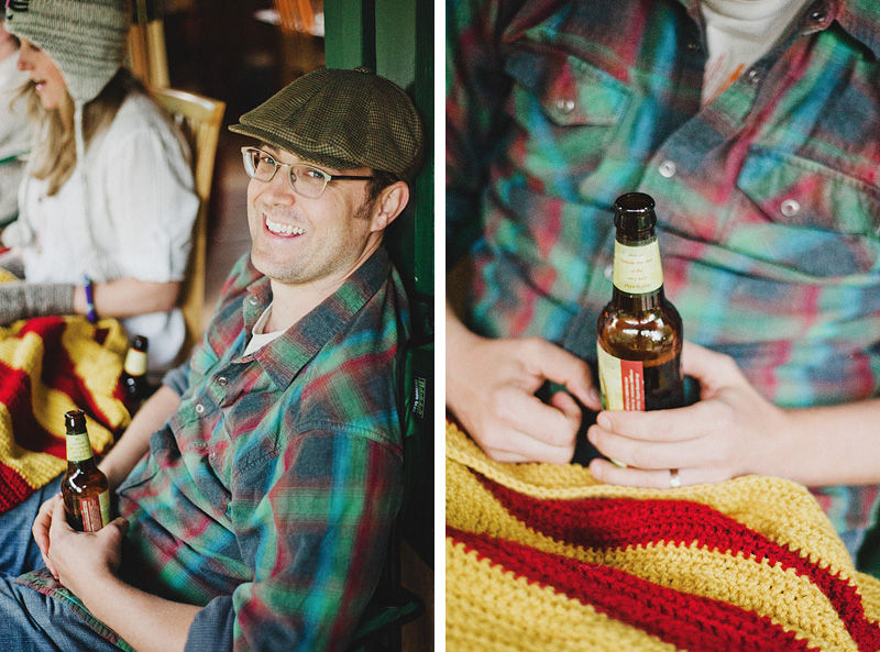 Salem Wedding Photographer - Groom enjoying a beer at his cabin in Jawbone Flats - Opal Creek Ancient Forest