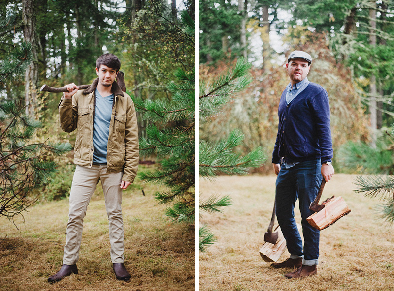 Portland Lifestyle Photographer - San Juan Island Vacation - Kyle and Bob posing with axes