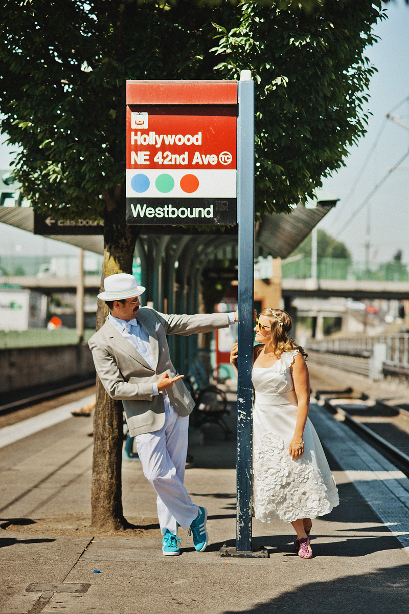 Multnomah Courthouse Wedding Photographer - Bride and Groom waiting at the MAX Station