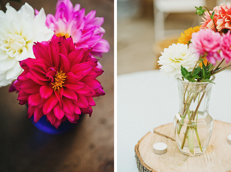Multnomah Courthouse Wedding Photographer - Dahlia Flower Arrangements and Centerpieces