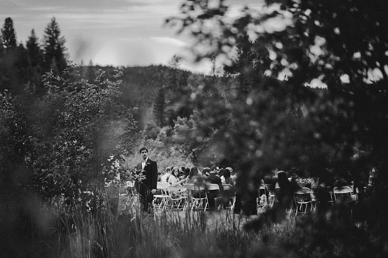 Oregon Wedding Photographers - Groom waiting for bride at Mt. Shasta Meadows