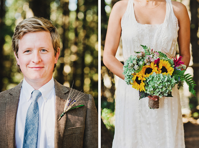 Tillamook Wedding Photographer - Bouquet and boutonniere details for the bride and groom