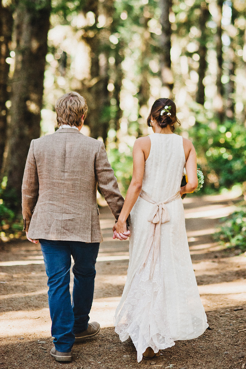 Cape Meares Wedding Photographer - Bride and Groom walking to the Octopus Tree