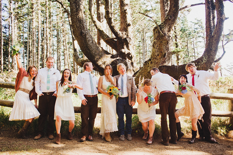 Cape Meares Wedding Photographer - Wedding party making funny faces at the Octopus Tree